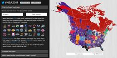 Map displaying the most popular NBA team in each county of the U.S.