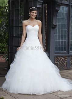 Wholesale 2013 Lace On This Dropped Waist Tulle Ball Gown Wedding Dresses 2013 buy Dress Get Gloves And Veil, Free shipping, $140.0-151.2/Piece   DHgate