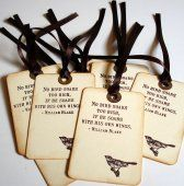 Wedding Wish Tags or Thank You Tags Vintage Style Bird with Soar Quote