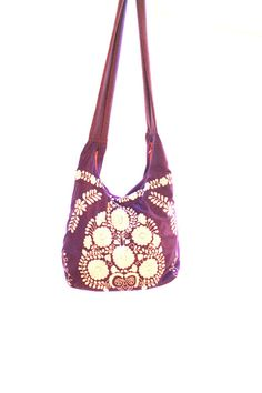 Purple Mexican bag beach tote embroidered by AidaCoronado on Etsy, $88.00