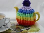 Rainbow Teacosy | 2 cup tea cosy | free knitting pattern | Nixneedles UK