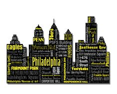 """Original artwork using words to describe """"CITY OF PHILADELPHIA"""" -- Show off your passion for the City of Brotherly Love in your home with this print that details the many words for Philly. City Silhouette for Philadelphia sports teams -- 76ers, Eagles, Flyers, & Phillies. Come visit the Lexicon Delight Etsy store!"""