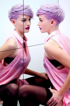 pastel lilac undercut short hair