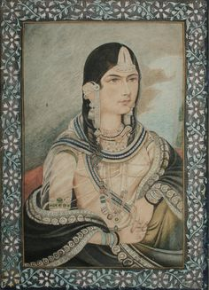 Hamida Banu Begum, wife of Mughal Emperor Humayun. Anglo-Indian school at Lucknow - circa late century. her earrings are AMAZING Mughal Architecture, Art And Architecture, Jaisalmer, Udaipur, King Of India, Taj Mahal, Mughal Paintings, Vintage India, Mughal Empire