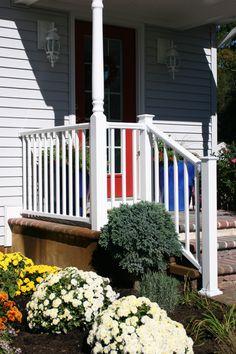Titan Pro Rail in White with Decorative Titan Pro Post Cap and Endurance Turned Porch Post