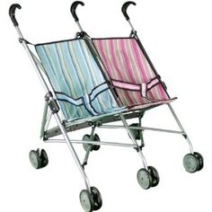 Mommy & Me Twin Doll Stroller for 1 Boy Doll and 1 Girl Doll - for her twin baby dolls!