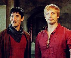 "Tumblr tags say ""still think Merlin has this deal with the knights where he has to get Arthur to agree to stupid stuff at least once a month JUST LOOK AT HIS FACE."" The tags are longer and funnier than just this part. <3"