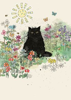 Bug Art B023 Black Garden Cat greetings card