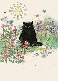 cat art Bug Art Black Garden Cat greetings ca - cat Cat Embroidery, Black Cat Art, Black Cats, Black Cat Drawing, Black Cat Painting, Black Kitty, Image Chat, Bug Art, Arte Sketchbook