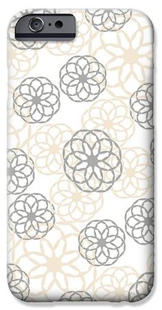 Tan And Silver Floral Pattern iPhone 6 Case by Christina Rollo.  Protect your iPhone 6 with an impact-resistant, slim-profile, hard-shell case.  The image is printed directly onto the case and wrapped around the edges for a beautiful presentation.  Simply snap the case onto your iPhone 6 for instant protection and direct access to all of the phones features!