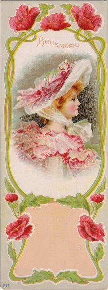 Lovely vintage Art Nouveau bookmark with pink roses