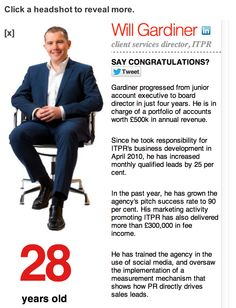 We are all feeling very proud here at ITPR Towers, today our very own Will Gardiner, has been announced as one of PRWeek's top 29 under 29! http://ow.ly/fFJRi