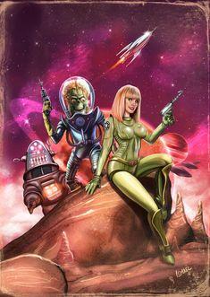 Pulp Science Fiction poster by ismaelArt on DeviantArt Arte Sci Fi, Comic Art Girls, 70s Sci Fi Art, Sci Fi Comics, Space Girl, Space Age, Alien Art, Fantasy Movies, Fantasy Fiction