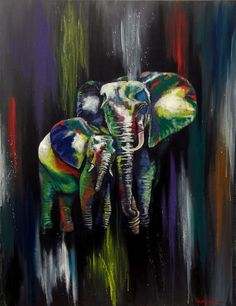 "Elephant Hugs By Helen Leigh  Abstract Expressionist-Drip Painting (style)  Materials:  Acrylic and Metallic Paint on Canvas  LARGE 90cm x 60cm x 3.5cm (24"" x 36"") - Exhibition Grade Canvas."