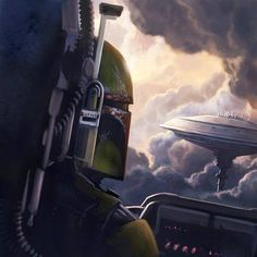 Boba Fett Star Wars bounty hunter Slave I Boba Fett Art, Boba Fett Mandalorian, Jango Fett, Star Wars Boba Fett, Star Wars Decor, Star Wars Art, Star Wars Novels, Mace Windu, Cloud City