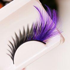 New Feathers Eye Tail Exaggerated False Eyelashes Messy Purple Cotton Thread Stitch Makeup False Eyelashes Cross Eye Lashes