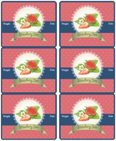 Strawberry jam - jar and canning labels