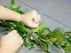 How to Make a Eucalyptus Garland + Easy Greenery Wreath Transform simple, low-cost greenery into beautiful decorations for weddings, holiday parties and mo Eucalyptus Centerpiece, Eucalyptus Garland, Eucalyptus Wedding, Flower Garland Wedding, Diy Wedding Flowers, Flower Garlands, Wedding Ideas, Green Garland, Floral Garland