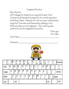 Keyboard practice for students to learn usernames, passwords, or other school numbers