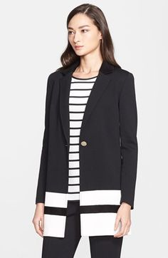 St. John Collection Velvet Collar Milano Knit Jacket available at #Nordstrom