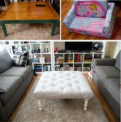 padded ottoman! I have a huge square coffee table I'd like to do this to. I'll just skip the drilling holes part... hopefully the foam will hold the tufting down without the thread cutting right through it. #sewcute #diydecor #repurpose #seating