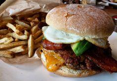 Downtown Campbell: The Hangover Hamburger with chorizo and avocado and Mo's Fries  #food #foodie #foodporn #foodstagram #instafood #burger #cheeseburger #cheddar #bacon #chorizo #avocado #sunnysideup #fries #cheatmeal #cheatday by solmnc