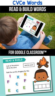 Looking for ideas for the google classroom for your kindergarten, first grade or special education kids? These activities are perfect for teachers to use in the classroom or for parents to use for homeschool. These CVCe word activities for beginners replace old and outdated worksheets. You can use them while distance learning to make learning CVCe words with pictures, long a, long i, long o or long u easier. #googleclassroom #cvcewords #digitallearning #distancelearning