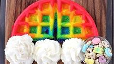 Follow these easy, colorful waffles with whipped cream clouds to the end of the rainbow, and you'll find a mini pot of treasure!