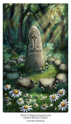 The Standig Stone (Justice) - Green Witch Tarot