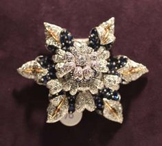 Elizabeth Taylor Exhibition - Jean Schlumberger Sapphire and Diamond Brooch