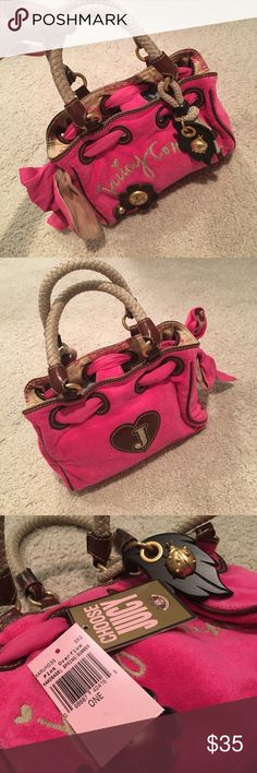 BRAND NEW juicy couture mini bag Brand new with tag but the attachment fell off on the tag. Rope handles with keychain Juicy Couture Bags Mini Bags