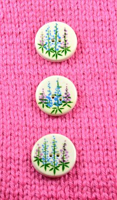 Handpainted ceramic lupine buttons x 3 by DebraRutherford on Etsy, $15.00