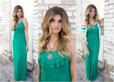 Spaghetti Strap Ruffle Maxi Dress in green $26.99!! Available @The Nest On Main!!