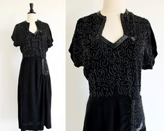 Vintage 40's Beaded Dress, 1940 Black Evening Dress, Vintage Rayon Dress, Old Hollywood Beauty