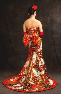 This is a nice use of Kimono fabric, retaining some of the original style but modernizing  Dresses made from kimono, beautiful!!