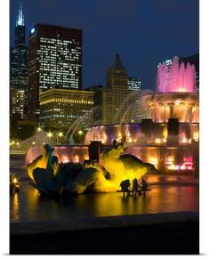 Poster Print Wall Art Print entitled Illuminated fountain with skyscrapers in a city, Buckingham Fountain, Grant Park, Chicago, Illinois,, None