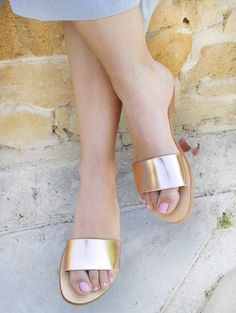 Metallic Slides in Genuine Bronze Leather - More options available