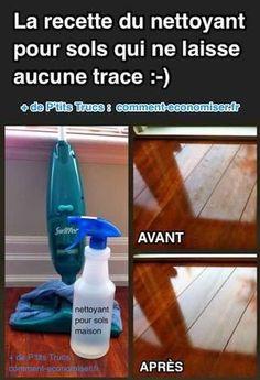 Je vais vous montrer ici comment nettoyer votre parquet sans utiliser de produit chimique ! :-) Découvrez l'astuce ici : http://www.comment-economiser.fr/la-recette-du-nettoyant-pour-sols-qui-ne-laisse-aucune-trace.html?utm_content=buffer98e0c&utm_medium=social&utm_source=pinterest.com&utm_campaign=buffer