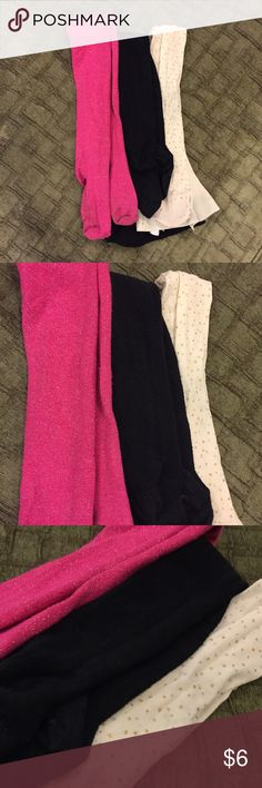 Lot/ bundle of 3 girls 4-6 panty hose / tights Glittery pink and black pair are sz 4-6 from target. Cream colored with gold and silver polka dots are children's place size 6-7. The cream pair fit more like size 4-6. Children's Place Accessories Socks & Tights