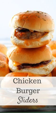 Bring these Chicken Burger Sliders to your next gathering and they will be gone fast before you know it. Tasty chicken patties and sweet caramelized onions you will be filled and satisfied. Burger Recipes, Lunch Recipes, Easy Dinner Recipes, Easy Meals, Savoury Recipes, Drink Recipes, Simple Recipes, Cooking Recipes, Types Of Sandwiches