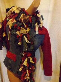 Denim Sweater with Scarf : Size Med $159 To see more designs by Wildflower Heart by jo stewart wray go to www.etsy.com/shop/jowray