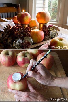 DIY Apple Candle Centerpiece #diycenterpiece