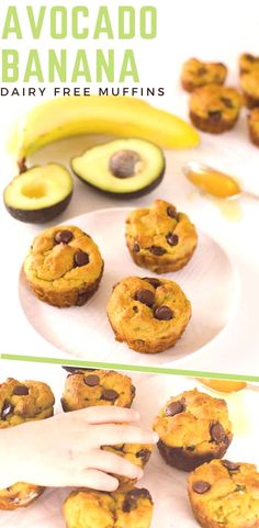 This avocado banana muffin recipe with chocolate chips is healthy dairy-free low sugar for kids a healthy snack Chocolate Chip Muffins, Chocolate Chip Recipes, Chocolate Chips, Muffin Recipes, Baby Food Recipes, Dessert Recipes, Jelly Recipes, Desserts, Dairy Free Muffins