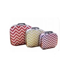 These stunning curved vintage look chevron #suitcases make great statement pieces to decorate a bedroom, playroom or anywhere around the house. #room #decorations