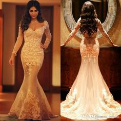 2016 Myriam Fares Prom Dresses With Long Sleeves Sexy Bodycon Trumpet Arabic Dress Champagne Long Evening Gowns Appliques Occasion Dresses Evening Formal Dresses Evening Long Dresses From Iubride, $129.85| Dhgate.Com