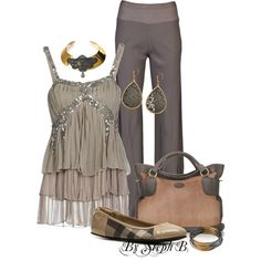 """Grey & Tan"" by stephaniebeckette on Polyvore"