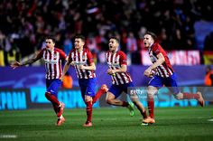 Club Atletico de Madrid players celebrate after they won an extra time penalty shoot-out during the UEFA Champions League round of 16 second leg match between Club Atletico de Madrid and PSV Eindhoven at Vincente Calderon on March 15, 2016 in Madrid, Spain.