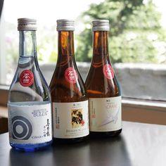 Three great sakes from Manotsuru on Sado Island, Niigata. From left to right they are 'Bulzai' Ginjo, 'Demon Slayer' Tokubetsu Honjozo, and 'Crane' Junmai. Sado Island, Niigata, Wine And Spirits, Crane, Beer Bottle, Wines, Champagne