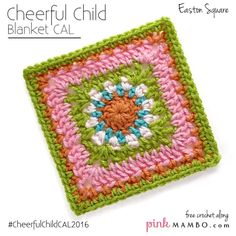 Cheerful Easton Granny Square| a circular center makes this granny square a floral delight