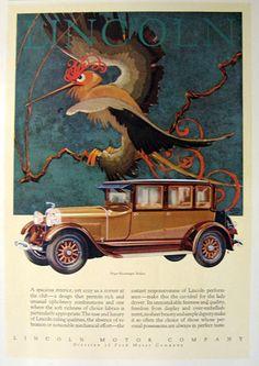 Lincoln Motor Company & the art of Winthrop Stark Davis, ~1928   Vintage ads